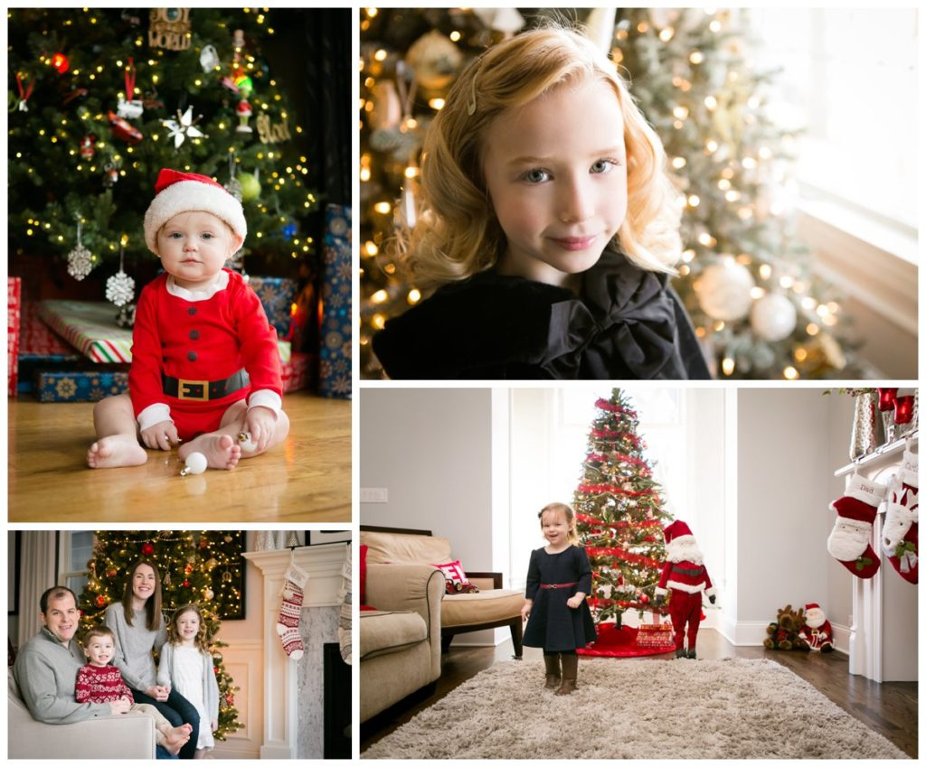 Baby in Santa outfit, Blonde girl in black velvet cape, family in Christmas attire, Toddler girl with Santa in front of Christmas trees, holiday decor.