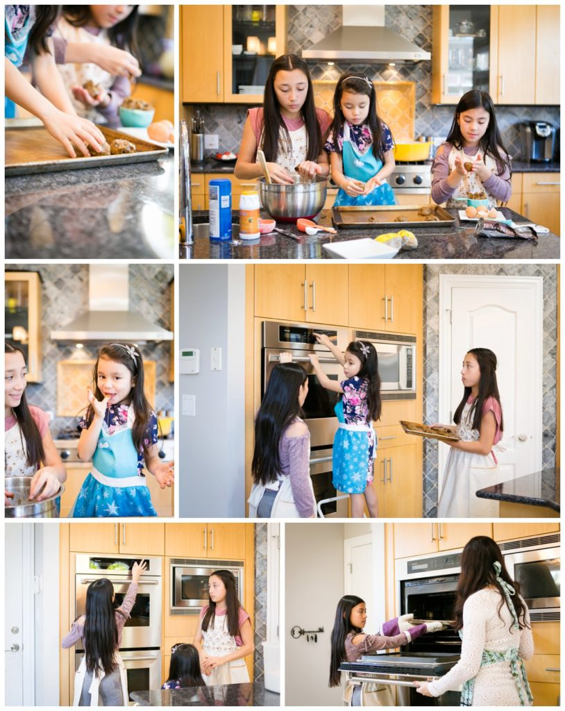 Sisters and mother prepare cookie dough and bake chocolate chip cookies in their bright and modern kitchen.