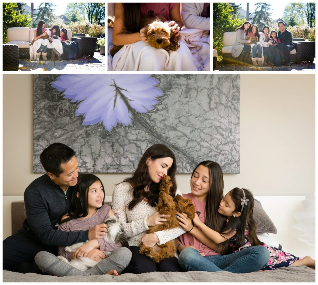 Mom, Dad, and three sisters pose in back yard and in the master bedroom with puppies