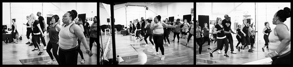 Energetic woman dances in hip hop class in Woodridge, Illinois.